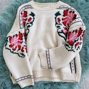 NWOT Topshop Floral Embroidered Sweater